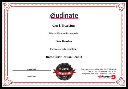 Dante Level 2 Certificate